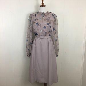 Vintage 70's Long Sheer Sleeve Floral Midi Dress